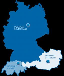 Standorte Megaplast DE AUT CHE